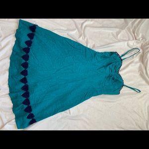 Blue Dress with Navy Crochet Detail